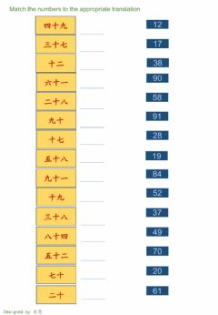 Interactive worksheet HSK1 numbers