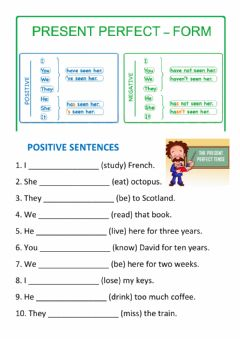 Interactive worksheet Present Perfect Simple - positive and negative