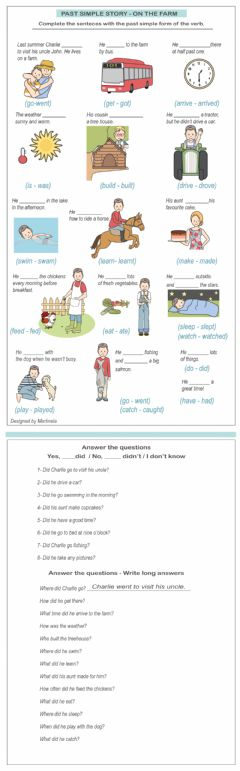 Interactive worksheet Past simple story - On the farm