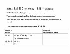 Interactive worksheet Unit 3.1 My Birthday Dialogue 1 simplified