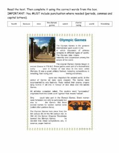 Interactive worksheet The Olympic Games Writing