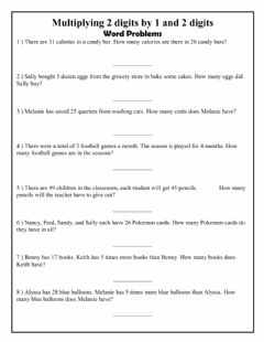 Interactive worksheet Multiplying 2 digits by 1 and 2 digits Word Problems
