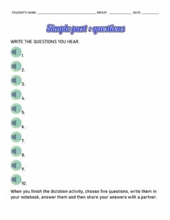 Interactive worksheet Questions in the simple past