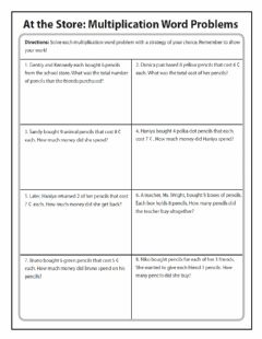 Interactive worksheet Multiply 2 digits by 1 word problems