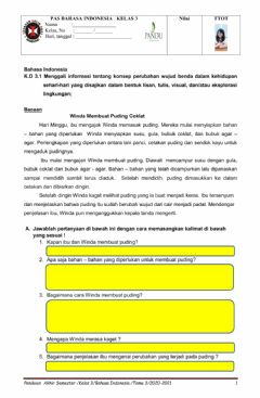 Interactive worksheet Pas B.Indonesia tema 3