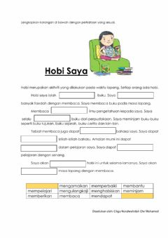 Interactive worksheet Karangan hobi saya