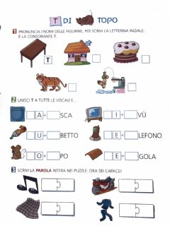 Interactive worksheet La consonante t