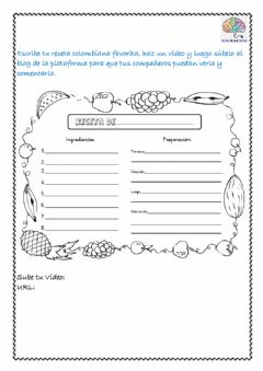 Interactive worksheet Vocabulario de cocina - Receta