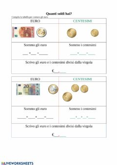 Interactive worksheet Conta euro e centesimi