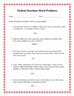 Ficha interactiva Ordinal Numbers Word Problems