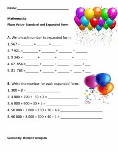 Ficha interactiva Place Value - Expanded and Standard Form