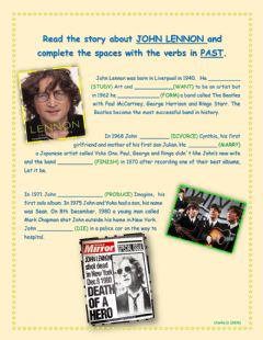 Interactive worksheet John Lennon story (simple past regular verbs)