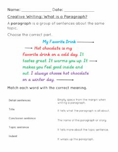 Interactive worksheet What is a paragraph?