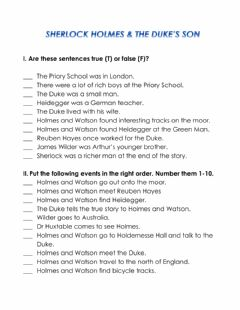 Interactive worksheet Sherlock Holmes and the Duke's Son Comprehension Test