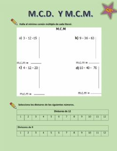 Interactive worksheet M.c.d. y m.c.m