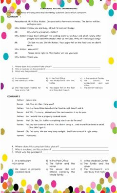 Interactive worksheet Complaints