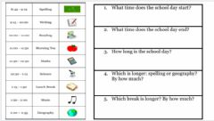 Interactive worksheet Exercise -1 (LIVEWORKSHEETS)- Reading a School Schedule