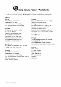 Interactive worksheet Song Activity Factory Worksheet