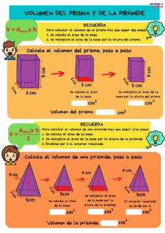 Interactive worksheet Volumen de prisma y pirámide