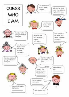 Interactive worksheet Family members - guess who I am