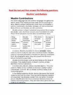Interactive worksheet The Muslims' contributions