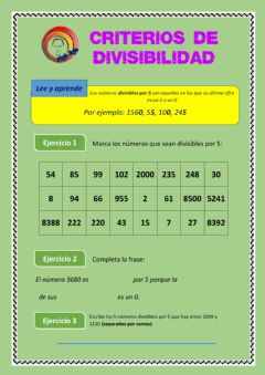 Interactive worksheet Números divisibles por 5