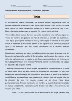 Interactive worksheet Comprensión escrita: Tinka