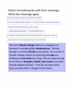 Interactive worksheet  Climate Change.