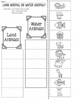 Interactive worksheet Land and Water Animal Sort