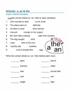 Interactive worksheet Articles - A, an, the