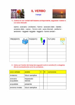 Interactive worksheet I verbi: i tempi