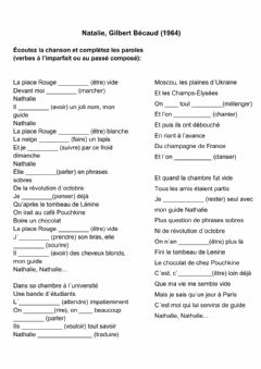 Interactive worksheet Nathalie, Gilbert Bécaud (1964)