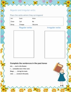 Interactive worksheet Regular and irregular verbs