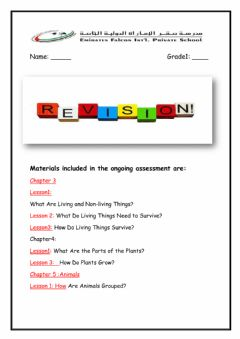 Ficha interactiva Science End of Term 1 Revision Sheet