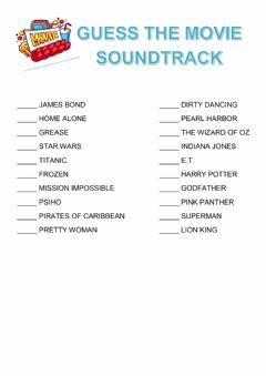 Interactive worksheet Guess the movie soundtrack