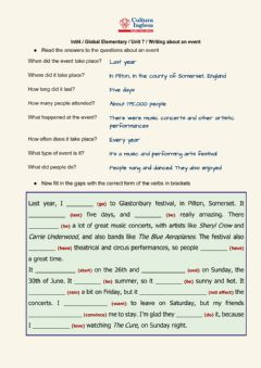 Interactive worksheet Int'l4 unit 7 writing - an event