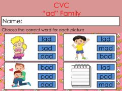 Interactive worksheet Review: CVC -ad- Family
