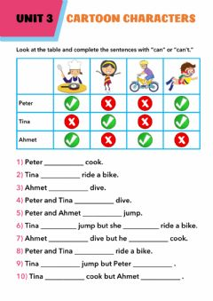 Interactive worksheet Unit 3 Cartoon Characters Can-Can't
