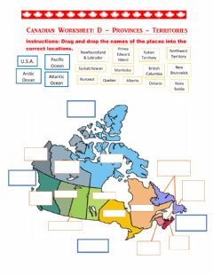 Interactive worksheet Canada Provinces and Capital Cities