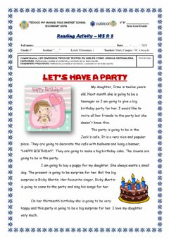 Interactive worksheet Reading - Let's have a party