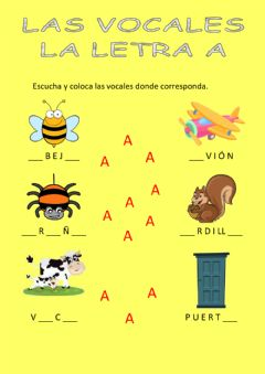 Interactive worksheet Las vocales - la a