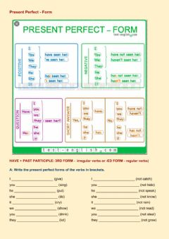Interactive worksheet Present Perfect - Form