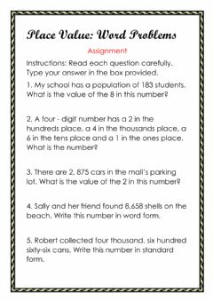 Ficha interactiva Place Value Word Problems