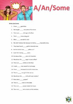 Interactive worksheet Some a an