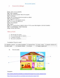 Interactive worksheet Ma nouvelle chambre