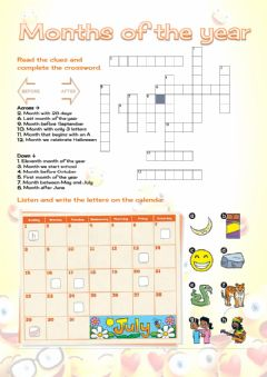 Ficha interactiva Months and Ordinal numbers