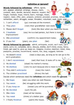 Interactive worksheet Infinitive or Gerund