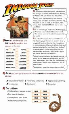 Interactive worksheet Indiana Jones Description