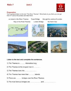 Interactive worksheet RbEn 6 - Unit 2 - Listening 1 - Facts about the River Thames