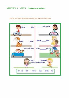 Ficha interactiva ROOFTOPS 6 - UNIT 1 - Possessive adjectives